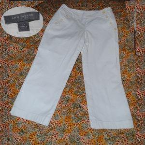 ANN TAYLOR White Sailor Button Crop Jeans Sz 2P